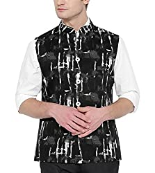 Shaftesbury London Mens Cotton Nehru Jacket (H2215--38, Black and Grey, 38)