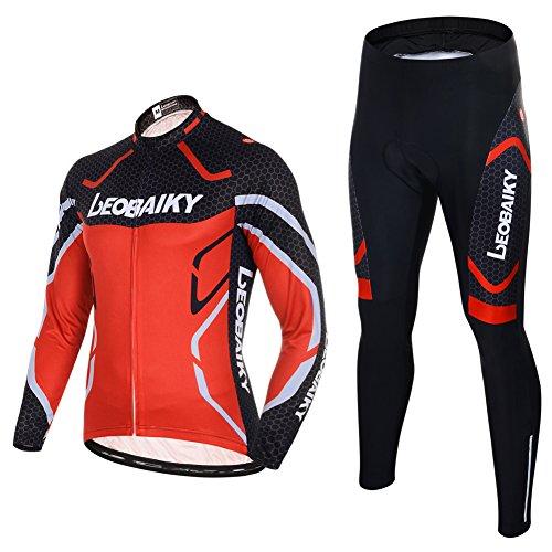 Maxmer Maillots Conjunto para Hombre Invierno Respirable Montar Bici Moto, Color Rojo