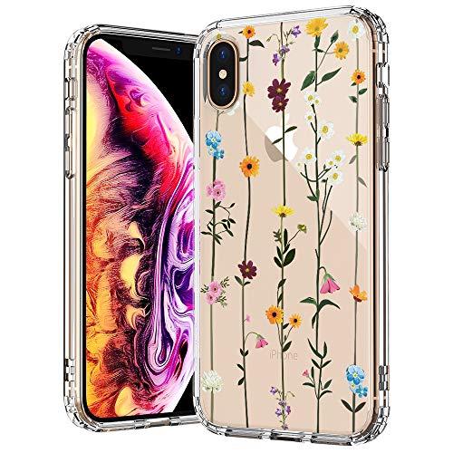 MOSNOVO iPhone XS MAX Hülle, Wildblume Blühen Blumen Muster TPU Bumper mit Hart Plastik Hülle Durchsichtig Schutzhülle Transparent für iPhone XS MAX (Wildflower)