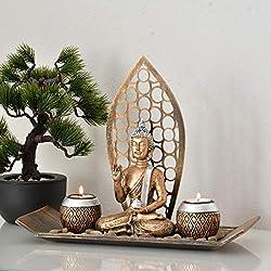 INtrenDU® Cuenco Decorativo Oriental con Figura de Buda, candelabro, Piedras Decorativas y Dos candelitas para meditación