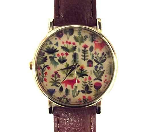unbrand-montre-bracelet-retro-avec-fleurs-et-animaux-renard