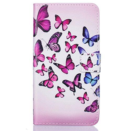 iPhone 7étui en cuir, w-pigcase dessin couleur ou Motif Étui en cuir PU avec design raffiné et confortable feelling pour iPhone 7, love, iPhone 7 Plus papillon