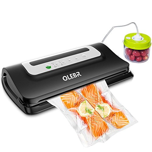 OLEBR Vakuumierer Vakuumiergerät Folienschweißgerät für Lebensmittel, Fleisch,Früchte bis zu 8x Länger Frisch mit Cutter, 1x Profi-Folienrollen & Schlauch für (Kanister Vakuum-schlauch)