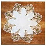 Elegante Spitzendecke Diana 84 cm rund Plauener Spitze Rosenmotive