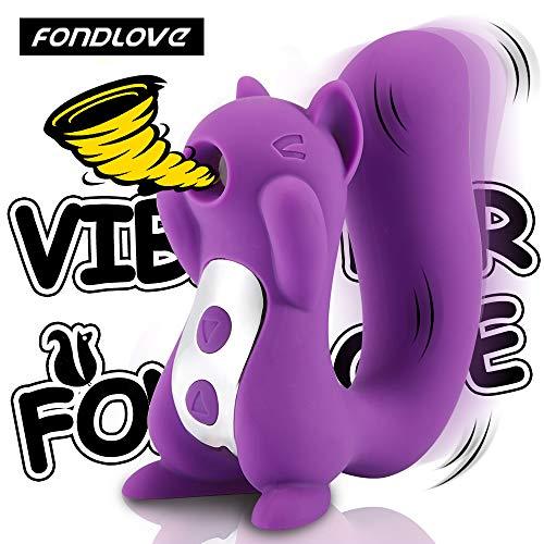 Fondlove Eichhörnchen Vibrator Klitoris-Sauger G-Punkt Vibratoren für Sie mit Klitoris Stimulation Wasserdicht Silikon Sexspielzeug für Frauen 10 Vibrationsmodi