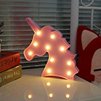 QINGYUN Unicorn LED Night Light Lamp Kids Marquee Letter Lights Unicorn Shape Signs Light Up Christmas Party Wall Decoration Battery Operated