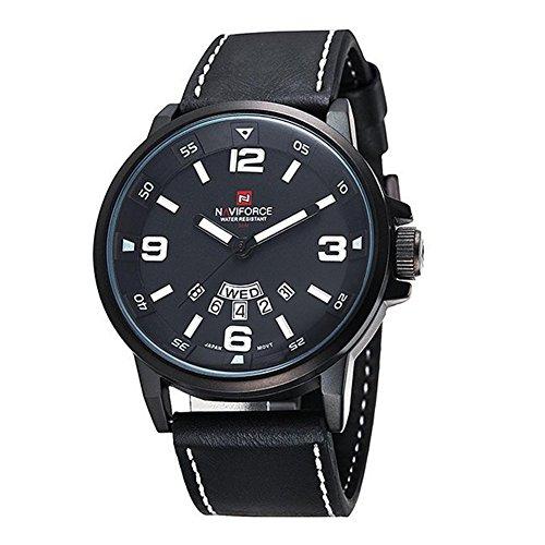 Herrenuhr - NAVIFORCE Herren Quarz-Sport-Luxus-Armbanduhr-Datum Tag Militaer Schwarz Weiss