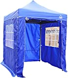 AllSeasonsGazebos Choice Of 5 Colours, 2x2m Heavy Duty, Fully Waterproof, Premium Pop Up Gazebo With 4 x Zip Up Side Panels, Carry Bag With Wheels and 4 x leg weight bags (Blue)