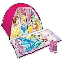 Disney Princess 4 piezas Divertido campamento Kit – Tienda, saco de dormir, bolsa de