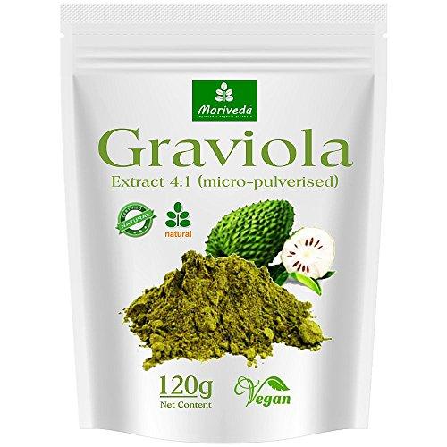 Graviola Pulver 120g, hochkonzentriertes Fruchtextrakt 4:1, Qualitätsprodukt von MoriVeda – Sauersack (1x120g)