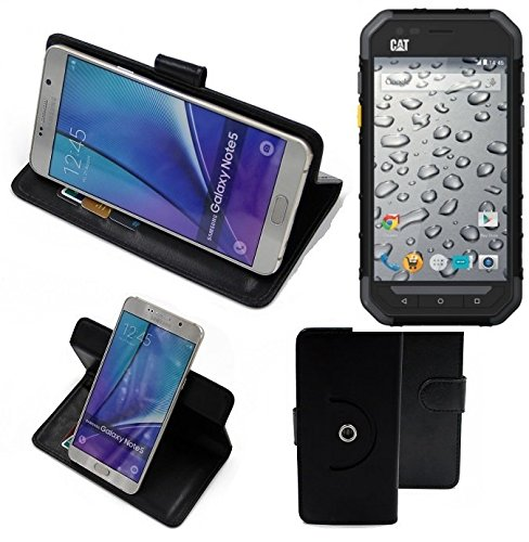 K-S-Trade® Case Schutz Hülle für Caterpillar Cat S30 Handyhülle Flipcase Smartphone Cover Handy Schutz Tasche Bookstyle Walletcase schwarz (1x)