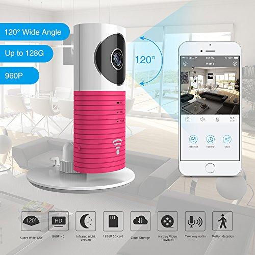 Clever Dog 2. Generation 960P 120 ° Weitwinkelobjektiv Wireless Sicherheit Wifi-Kamera Unterstützung Max 128 GB SD-Karte / Support Cloud Stotage (Pink)