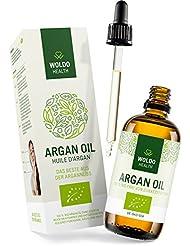 WoldoHealth Arganöl Bio aus Marokko 100% rein kaltgepresst für Haare Haut Gesicht und Nägel Anti-Falten Anti-Aging Serum 100ml