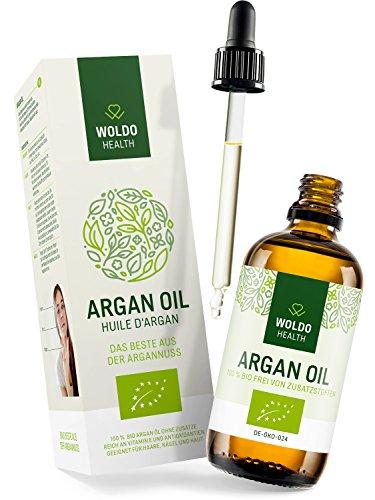 WoldoHealth I Bio Arganöl aus Marokko I 100% rein kaltgepresst I 100ml I Vegan I Argan Öl in Lichtschutz Glas-Flasche I Anti-Aging Serum...