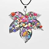 Memory meteor Halskette, Farbiger Naturkristall mit Kies-Ahornbaum Anhänger Halskette-Lederkette