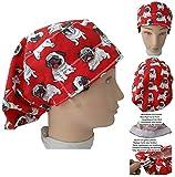 Cappello chirurgico Donna Cani Carlin Per capelli lunghi, veterinario, dentisti, cucina, asciugamano davanti, regolabile a proprio piacimento con tenditore