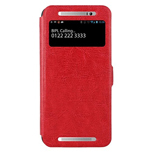 Spider HTC One E8 Flip Cover Slim Fit Case Cover Sparkle Flip Cover for HTC One E8 Dual Sim (Red)  available at amazon for Rs.499