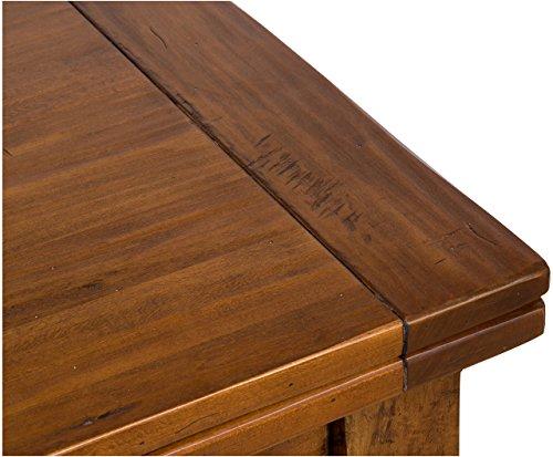 Tavolo a libro allungabile Country in legno massello di tiglio finitura  noce 90x90x80 cm