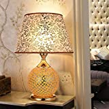 WeieW Elegante Tischleuchte Mosaik-Glas, doppelte Lichtquelle-dekorative Lichter, kleines Nachtlicht, Wohnzimmer-Schlafzimmer-Nachttischlampe (Größe: 48 * 33cm) (Größe : 41 * 31cm)