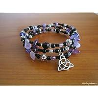 Bracciale triquetra, calderone, streghetta, filo armonico, perline, pagan handmade