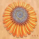 CLLCR Home Wohnzimmer Teppich, Familie Wohnzimmer Couchtisch Sofa Kissen rund Orange Sun Blume Rutschfeste Stuhl Matte Kinder Krabbeln Decke 90 * 90 cm Einfache Persönlichkeit Schlafzimmer Teppich