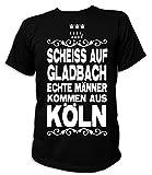 Artdiktat Herren T-Shirt Scheiß auf Gladbach - Echte Männer kommen aus Köln Größe L, schwarz