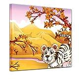 Kunstdruck - Kinderbild - Tiere Cartoon VIII - Weißer Tiger - 40 x 40 cm - Bilder als Leinwanddruck - Wandbild von Bilderdepot24 - Kinder - Landschaft - große Raubkatze in der Natur