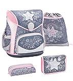 Belmil ergonomischer Schulranzen Set 4 -teilig für Mädchen 1-4 Klasse Grundschule/mit Brustgurt, Hüftgurt/Magnetverschluss/Stern/Grau (405-42 Shine Like a Star)