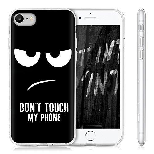 kwmobile Hülle für Apple iPhone 7 / 8 - TPU Silikon Backcover Case Handy Schutzhülle - Cover klar Ananas Strauch Design Rosegold Transparent Don't touch my Phone IMD Weiß Schwarz