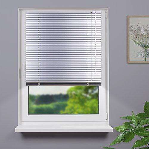 Fensterdecor Aluminium Fertig Jalousie / Silber 180 x 150 cm (BxH)