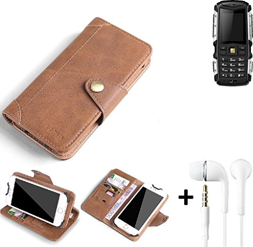 K-S-Trade® Schutzhülle für Jiayu F2 Hülle Tasche Handyhülle Handytasche Wallet Flipcase Cover Handy Tasche Kunsteleder Braun Inkl. in Ear Headphones
