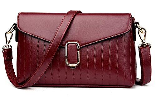 Xinmaoyuan Borse donna pu Middle-Aged Madre della spalla di croce obliqua borsetta e sezione trasversale del quadrato piccolo Package,viola Rosso