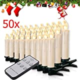 Miafamily 20-60er Weinachten LED Kerzen Weihnachtsbeleuchtung Lichterkette Kerzen kabellos Weihnachtskerzen Weihnachtsbaum Kerzen mit Fernbedienung kabellos Baumkerzen(milchweisse Hülle, 50er)