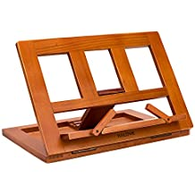 HALOViE soporte para libro Tablet iPads Book Holder Atril de lectura ajustable y plegable de madera