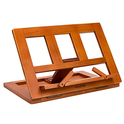 Halovie soporte para libro Tablet iPads Book Holder Atril de lectura ajustable y plegable de madera 34*23.5*2.8cm