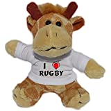 Jirafa de peluche (llavero) con Amo Rugby en la camiseta (nombre de pila/apellido/apodo)