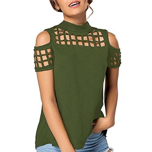 Ulanda-EU Femme T Shirt à Manches Courtes Évider Tee Shirt Col Rond Casual Eté Slit Tops Blouse Tunique Chemisier Lâche Top Shirt Crop Top Chic Vetement Femme Pas Cher T-Shirt Mod