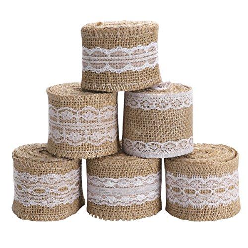 Vosarea 6pcs Sackleinen Craft Ribbon Roll mit Spitze für DIY Herstellung Hochzeit Craft Lace Linen (Spitze Mit Sackleinen Ribbon)