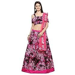 Triveni Art Silk Multi colour Printed Festival Lengha (Pink)