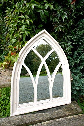 Antikas - Spiegel, Spiegelfenster mit gothischem Holzrahmen  in antik Weiß, Wandspiegel