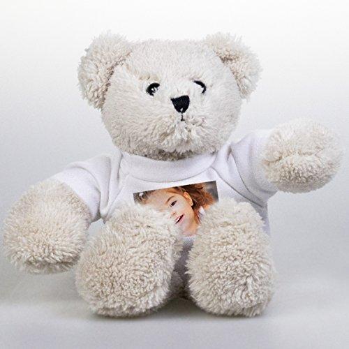 Plüsch Teddybär mit eigenem Foto - Kuscheltier Bär mit individualisiertem bedrucktem Bild auf T-Shirt - 12,5 cm, Öko-Tex Zertifiziert
