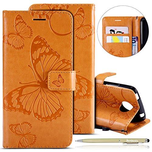Herbests Leder Handy Schutzhülle für Motorola Moto C Plus Lederhülle Schmetterling Muster Leder Handyhülle Handytasche Brieftasche Ledertasche Bookstyle Flip Case Cover Klapphülle,Gelb