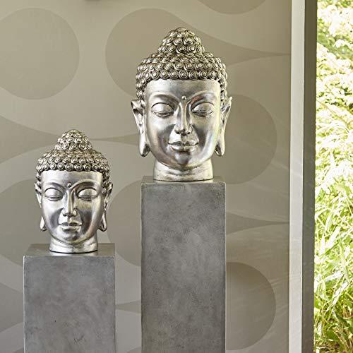 Klocke Gartenfiguren Wunderschöner & Moderner Buddha Kopf - Hochwertige Verarbeitung - Fiberglas - Indoor - Statue/Büste/Skulptur/Buddhafigur (Klein:...