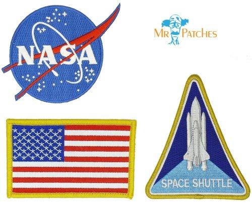 NASA blaues Logo USA Flagge Space Shuttle Jacke, DIY bestickt Halloween Kostüm Badge Set von 3 Stück Einfaches Aufbügeln/Aufnähen