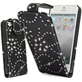 BLACK GLITTER DIAMOND PU LEATHER CASE COVER POUCH FOR APPLE IPHONE 5C By Connect Zone�