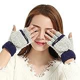 Demarkt Damen Winter Handschuhe Fingerlose Fäustlinge Fingerhandschuhe Fingerlos Halb Handschuhe Handschuhe mit Flip Top (Blau und Grau)