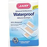 Leader Advanced Antibacterial Waterproof Adhesive Bandages Assorted Sizes 20 Count Per Box (5 Boxes)