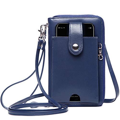 Geldbörse Damen RFID Schutz, Damen Geldbeutel Umhängetasche Große Kapazität, Damen Portemonnaie mit Handyfach PowerBank Tasche kopfhörer Organizer (Clutch Wallet Iphone Plus 6)