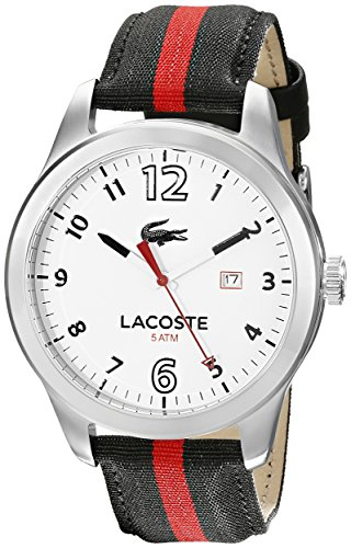 Lacoste Men's 2010723 Auckland Stainless Steel Watch with Striped Nylon Band
