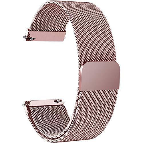 Fullmosa 14mm 16mm 18mm 19mm 20mm 22mm 24mm Bracelet Montre pour Homme/Femme, 6 Couleurs Smart Watch Bracelet Dégagement Rapide avec Fermeture Magnétique,18mm Rose Clair
